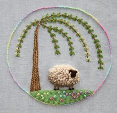 There is something about Sheep Embroidery that I love.