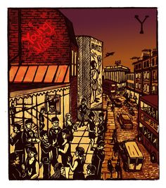 "Tobias Till ~ ""Y"" Young Vic from London A-Z Complete Boxed Set (2012) ~ Linocut, Somerset satin 250 gsm paper, 41.5 x 37.5 cm"