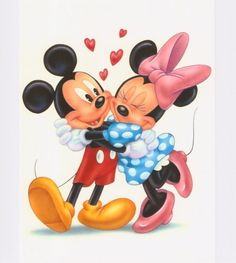 """Mickey & Minnie"" © Disney - by Phil Wilson -watercolor using airbrush"