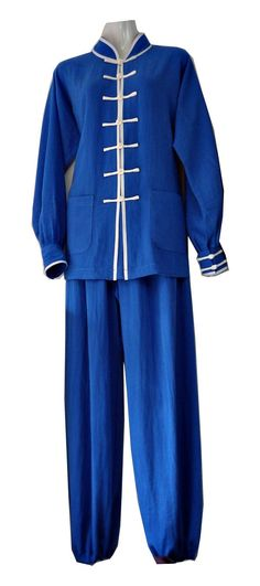 Asia-Sale Best Tai Chi, Kung Fu Clothing & Equipment Shop - Blue Hemp and Linen Wudang Tai Chi Uniform with Cuffs and White Outerseam for Men and Women