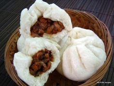 No-Frills Recipes . cooking, baking & excerpts on travel: Steamed Bun ~ Pau Roast Pork Bun, Steamed Pork Buns, Steamed Cake, Steamed Meat, Bbq Pork, Pau Recipe, Best Cinnamon Rolls, Sweet Buns, Indonesian Food