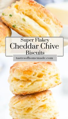 Flakey cheddar chive biscuits are tender and light. Filled with fresh grated cheddar cheese and savoury chives, these biscuits are perfect with homemade soups and stews. They are quick and easy to make and make a large batch. Flakey Biscuits, Tea Biscuits, Cheddar Biscuits, Cheese Biscuits, Cheddar Cheese Biscuit Recipe, Savoury Biscuits, Savory Scones, Homemade Cheese, Homemade Breads