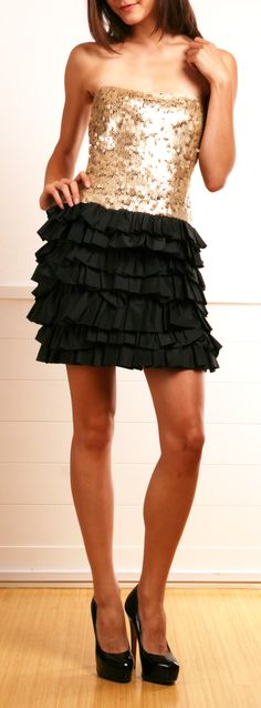 New Years Party Dress!! :: Robert Rodriguez Party Dress w/ Gold Circle Sequin Bodice with Black Ruffled Skirt