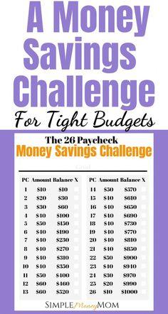 Savings Challenge, Money Saving Challenge, 26 Week Savings Plan, Savings Jar, Best Money Saving Tips, Ways To Save Money, Money Tips, Money Budget, Saving Money Plan