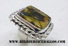 sortija ajustable de #quiastolita  y plata www.relojeriaceballos.com