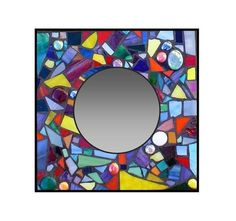 Stained Glass Mosaic 12 x 12 Confetti Mirror by TheRedPoppyShop