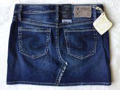 **NWT Women's SILVER JEANS Low Rise Ravi Stretch Denim Jean Mini Skirt Size 28** #SilverJeans #Mini