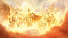Jesus as our powerful heavenly King leads an army of angels Jesus Christ Images, Jesus Art, God Jesus, Bible Pictures, Jesus Pictures, Lds Art, Bible Art, Kingdom Of Heaven, The Kingdom Of God