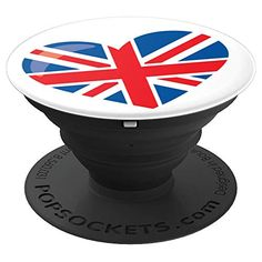 Love UK Flag Cool Great Britain Heart Design Red White Blue Pop Socket #popsockets #coolpopsocket #cutepopsocket