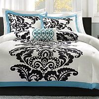 Queen Black White Aqua French Damask Arabesque 4pc Comforter Bed Set W Pillow