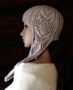 Ear flap Hat beige knit lace cables spring fashion by LeafyDesign, $45.00