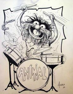 Animal - The Muppets - Joe Jusko Animal Sketches, Animal Drawings, Art Drawings, Drummer Tattoo, Drum Drawing, Animal Muppet, Drums Art, The Muppet Show, Cartoon Art