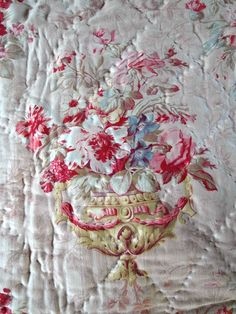 FRENCH antique boutis QUILT with Flowers URNES by villavillacolle, $500.00