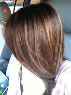 Dark brown hair with caramel highlights.