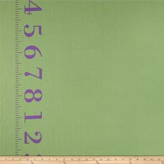 """Kokka Canvas Ruler Border Print Green from @fabricdotcom  Designed by Kokka, this medium weight (6 oz./square yard) cotton canvas fabric is perfect for toss pillows, window treatments, bed skirts and some light upholstery. It features 7.5"""" borders printed vertically along both selvedges. Colors include green and purple."""