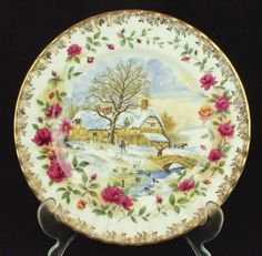 Royal Albert Old Country Roses Four Seasons WINTER Plate 1st Quality VGC