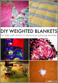 How to make a DIY weighted blanket for kids with autism and/or sensory processing disorder, including some no sew weighted blanket tutorials Sensory Tools, Autism Sensory, Sensory Activities, Diy Sensory Toys, Winter Activities, Dementia Activities, Sensory Play, Weighted Blanket Tutorial, Weighted Blanket For Kids
