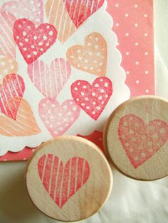 love heart stamps. hand carved rubber stamp. handmade rubber stamp. small love hearts. diy wedding. diy valentine's day. set of 2. mounted