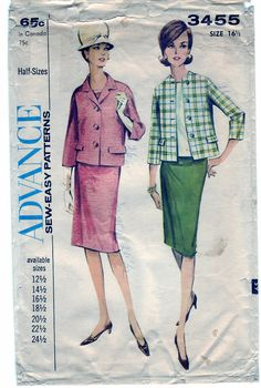Vintage 1963 Advance 3455 Sewing Pattern Misses' Suit and Blouse