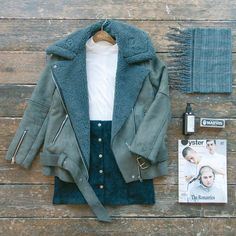 Cosy jacket and plain outfit - olive clothing