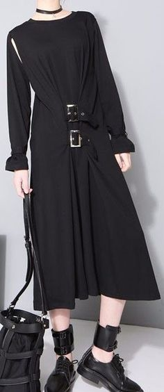 Black Double-Bucked Waist Goth Style Dress