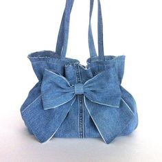 Denim purse , Recycled bow purse - Eco friendly handbag - denim bow bag - up cycled blue jean purse - bag Blue bow cycled Denim Bow Purse, Bow Bag, Denim Purse, Denim Handbags, Purses And Handbags, Luxury Handbags, Cheap Handbags, Blue Jean Purses, Denim Crafts