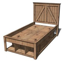 FREE plans for this Twin Storage Bed~ A full storage base for the Brookstone Collection. Features three cubbies at the base and full under bed storage, and a smaller cubby space at th back. For extra support, add a third center divider.
