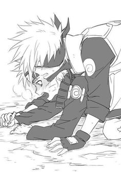 Naruto, Kakashi, blushing, unmasked, yaoi, KakaNaru; Naruto
