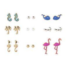 Seaside Creatures Stud Earrings Set of 9