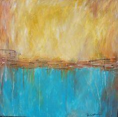24 X 24 Original Abstract by Becky Lindner by BeckyLindnerArt