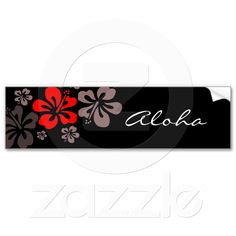 Red and Gray Hibiscus Bumper Stickers from Zazzle.com
