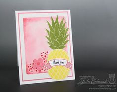Card using the Pineapple stamp and Watercolor Block Background technique