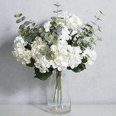 Cream Faux Hydrangea Spray by Kaleidoscope Kaleidoscope - Modern Design Fake Hydrangeas, Hydrangea Vase, Modern Flower Arrangements, Artificial Flower Arrangements, Vase Arrangements, Fake Flowers, Flower Vases, White Flowers, Artificial Flowers