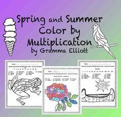 Spring and Summer Color by Multiplication Facts Fluency for home and school Teaching Math, Teaching Resources, Student Learning, Maths, First Grade Lessons, Math Lessons, Multiplication Facts Practice, Math Facts, Math Word Problems