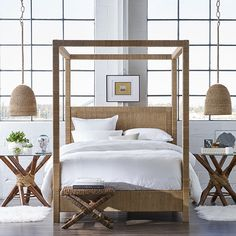 Reminiscent of exotic travels the Strand Poster Bed Reclaimed is beautifully organic earthy and naturally modern. Fun and simple design that is both functiona - March 09 2019 at Bedding Master Bedroom, Home Decor Bedroom, Modern Bedroom, Natural Bedroom, Bedroom Ideas, Bedroom Designs, Bedroom Table, Bedroom Wardrobe, White Bedroom