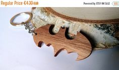 ON SALE 10% OFF Wooden Batman Sign Keychain Walnut by PongiWorks