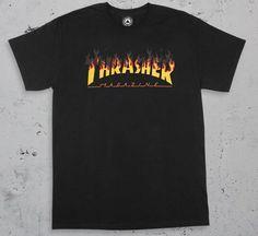 61a9cc19a7686 Thrasher BBQ Flame Logo Tee Black - Black Sheep Skate Shop T Shirt  Thrasher
