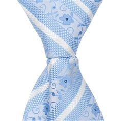 Matching Tie Guy 4602 X9 - 9.5 in. Zipper Necktie - Blue With Flowers, 6 to 18 Month, Infant Girl's, As Shown