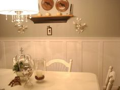 Love the height of the wainscoting in dining room and the paint color