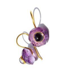 22k Gold Amethyst Iolite Earrings by MonBedo on Etsy, $750.00