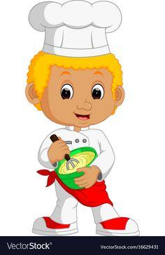 Funny cartoon chef boy making cake vector image on VectorStock Disney Photo Frames, Cartoon Chef, Pillow Cakes, Cake Vector, Doodle Coloring, Cartoon People, Bakery Design, Kitchen Themes, Stick Figures