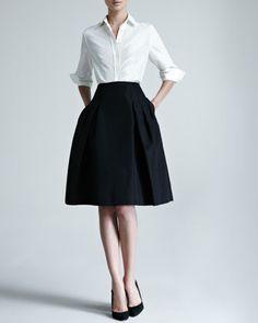 Carolina Herrera Silk Taffeta Shirt & Faille Party Skirt - Neiman Marcus