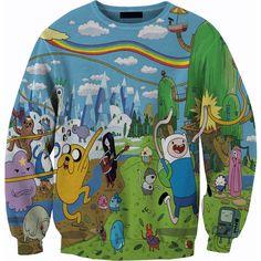 Adventure Time Sweater Crewneck Sweatshirt ($60) ❤ liked on Polyvore featuring tops, hoodies, sweatshirts, sweaters, shirts, cartoon shirts, crew neck shirt, crew-neck sweatshirts, crew-neck shirts and crew neck sweatshirts