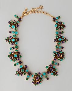Oscar de la Renta Clustered Crystal Necklace, Mulberry - Neiman Marcus