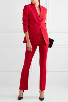 Red crepe and satin Button fastening at front 97% viscose, 3% elastane; trim: 71% acetate, 29% viscose; lining: 71% acetate, 29% silk Dry clean Made in Italy