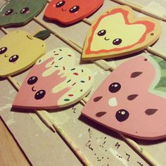 I've had some laser cut wooden shapes lying around for a while now and finally decided to do something with them! Lots of ideas and wanted to work out the best process for painting them (a few didn't really work out...) but think I might do a few fit for sale after the New Year as brooches and necklaces :3 #cute #kawaii #handpainted #apple #pizza #frosting #watermelon #kawaiifood #jewellery #brooch #necklace #kawaiijewellery #lasercut #heart by katiewhiteart
