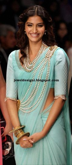 Sonam Looks Beautiful in Her South Sea Pearls Jewellery Paired with Antique Bangle set