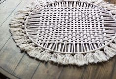 Circle Macrame Table Runner – Famous Last Words Coffee Table Runner, Table Runners, Hanging Tapestry, Woven Wall Hanging, Circle Table, Circle Circle, Circular Coffee Table, Small Mats, Table Runner Pattern