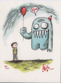 Martín y Olga - Liniers Funny Spanish Memes, Spanish Humor, Love Deeply, Watercolor And Ink, Kawaii, Creepy, Doodles, Cartoon, Shadows