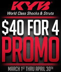 $40 Rebate for 4 KYB Shocks Promotion!: Buy 4 KYB Shocks and Get a $40 Rebate! Ends April 30, 2016! Receive a $40 rebate… #Blog #Rebates